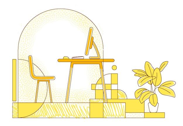 Фрилансер на рабочем месте плоский силуэт иллюстрации. удаленное рабочее место, контурная композиция домашнего офиса на желтом фоне. пустая комната с настольным компьютером в простом стиле