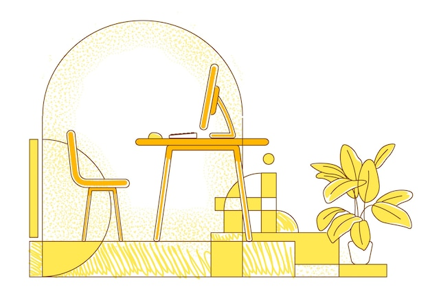 Freelancer workplace flat silhouette illustration. remote workspace, home office contour composition on yellow background. empty room with desktop computer simple style drawing