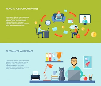 Freelancer workspace at home and remote jobs opportunities