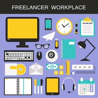 Набор иконок на рабочем месте freelancer