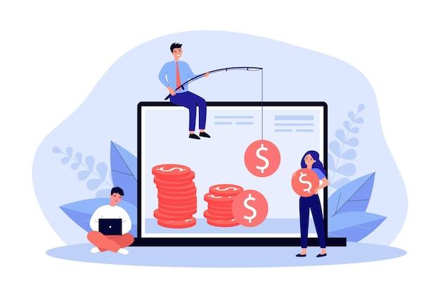 オンラインでお金を稼ぐフリーランサー。釣り竿で現金をキャッチするビジネスマン、コインフラットベクトルイラストを保持している女の子。バナー、ウェブサイトのデザインまたはランディングウェブページのフリーランス、リモートワークのコンセプト