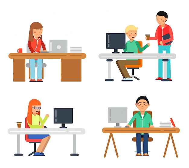 Freelancers male and female at computer workspace