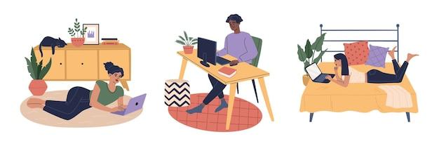 快適にラップトップとコンピューターで在宅勤務のフリーランサーの男性と女性。遠隔地や従業員の労働者のキャラクター、人々を研究しています。平らな漫画イラスト、白い背景で隔離