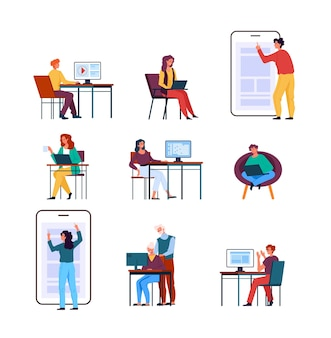 Freelancers people workers working home illustration