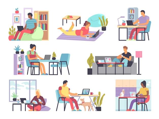 프리랜서. 자영업자, covid-19 자가 격리 남성과 여성이 노트북과 컴퓨터로 집에서 일하고 있습니다. 검역 벡터 개념을 위한 먼 사무실