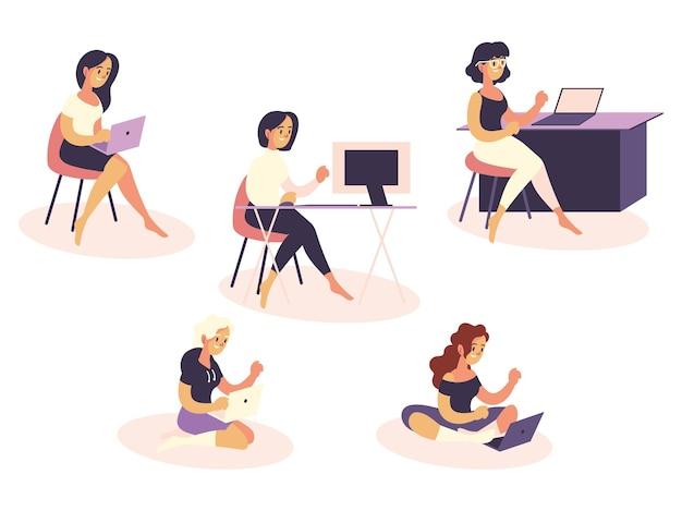 Женщины-фрилансеры, использующие ноутбук