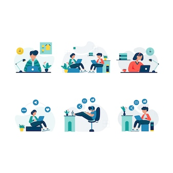 Freelancers work and discuss in coworking space illustration