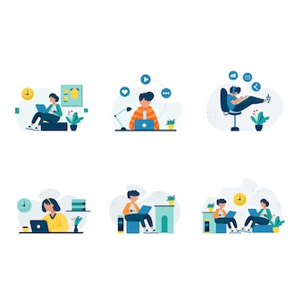 Freelancers work and discuss in coworking space scenes set