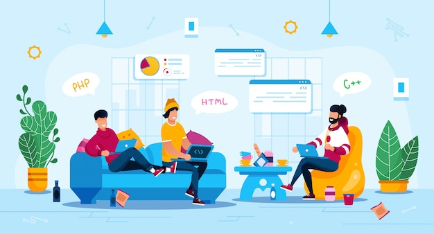 Freelancers work and leisure flat concept