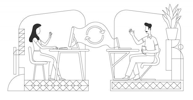 Фриланс, аутсорсинг тонкой линии иллюстрации. коллеги общаются онлайн наброски персонажей на белом фоне. интернет-работа, технология дистанционного общения, простой стиль рисования