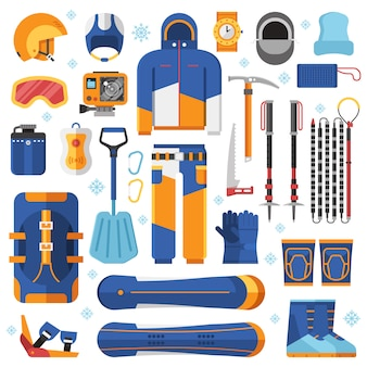 Freeride snowboard gear and accessories.