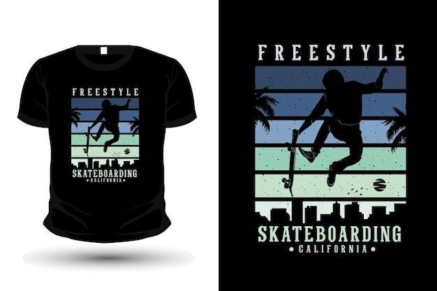 Freestyle skateboarding california merchandise silhouette t shirt design