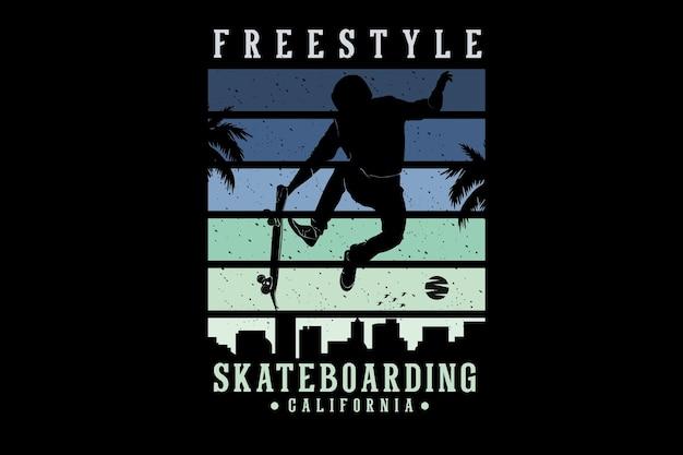 Freestyle skateboarding california silhouette design