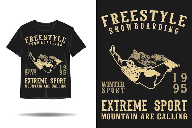 フリースタイルスノーボードウィンタースポーツシルエットtシャツデザイン