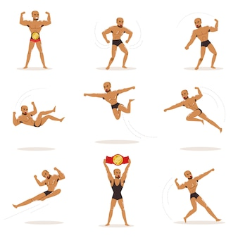Freestyle wrestling fighter in black underwear fighting set of illustrations