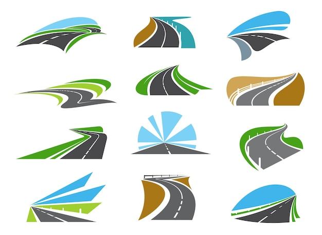 Freeway, highway road icons with roadsides and guardrails. winding driveway, winding motorway or coastal speed road. road trip, transportation and logistics industry emblems