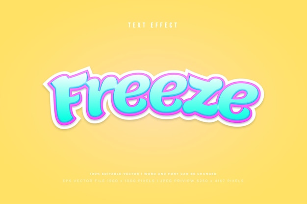 Freeze 3d text effect on yellow background