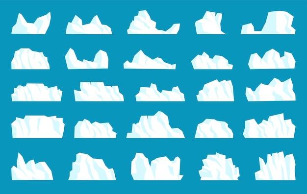 결정 극 빙산을 다른 모양, 형태 및 크기로 고정합니다. 파란색 배경에 고립 된 큰 고체 아이스 빙하 화이트 마운트, 냉동 해양 산 풍경 요소 벡터 일러스트 레이 션의 집합