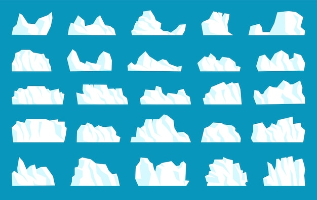 Freeze crystal polar iceberg different shape, form and size. set of large solid iced glacial white mount, frozen marine mountain landscape element vector illustration isolated on blue background