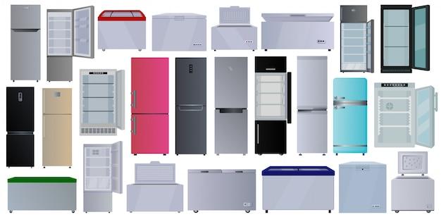 Морозильник мультфильм установить значок. иллюстрация холодильник на белом фоне. мультфильм установить значок морозильник.
