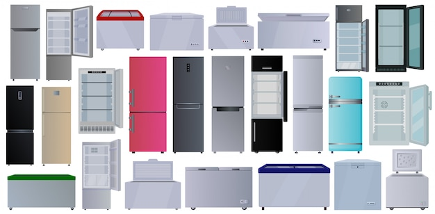 Freezer  cartoon set icon.  illustration fridge on white background.  cartoon set icon freezer .