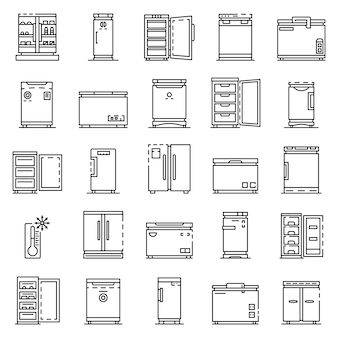 Freezer icon set. outline set of freezer vector icon