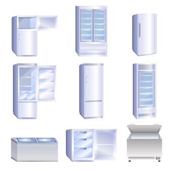 Freezer icons set, cartoon style