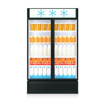 Freezer realistic template with food drink bottles cartons and glass door