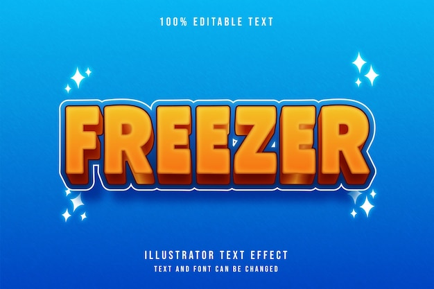 Freezer3d 편집 가능한 텍스트 효과 오렌지 그라데이션 노란색 파란색 현대 만화 스타일