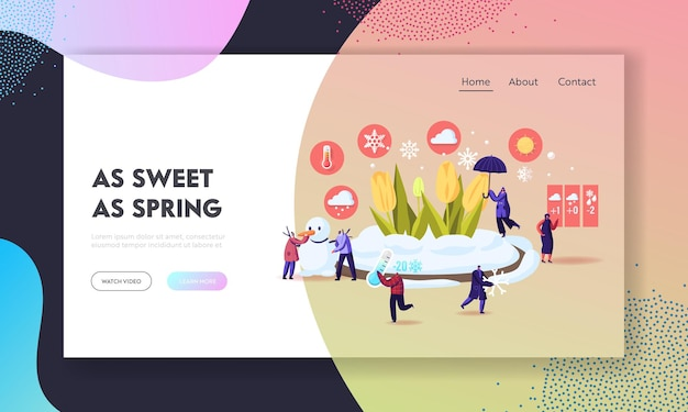 Freezing spring and climate change landing page template.