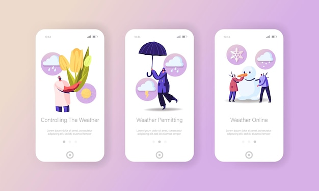Freezing spring and climate change mobile app page screen template
