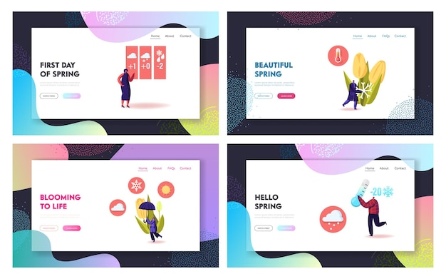 Freezing spring and cold weather landing page templates set.