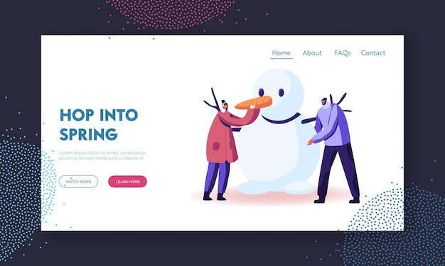 Freezing spring or winter time outdoor activity landing page template.
