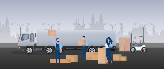 貨物バナー。大きな白いトラック。商品の輸送、配送、ロジスティクスの概念。ベクター。
