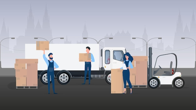 Грузовой баннер. большой белый грузовик. концепция перевозки, доставки и логистики грузов. вектор.