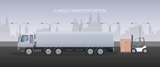 Грузовой баннер. большой белый грузовик. понятие перевозки, доставки и логистики грузов. вектор.