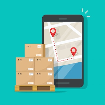 Freight cargo delivery tracking or navigation route on mobile phone