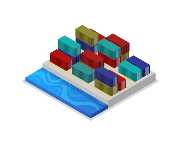 Freight containers in port isometric 3d illustration
