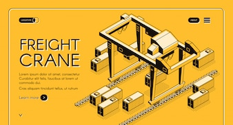 Freight crane web banner with gantry crane moving on rails among freight containers