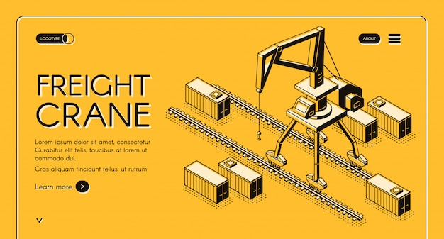 Freight crane web banner with portal crane moving on rails among freight containers