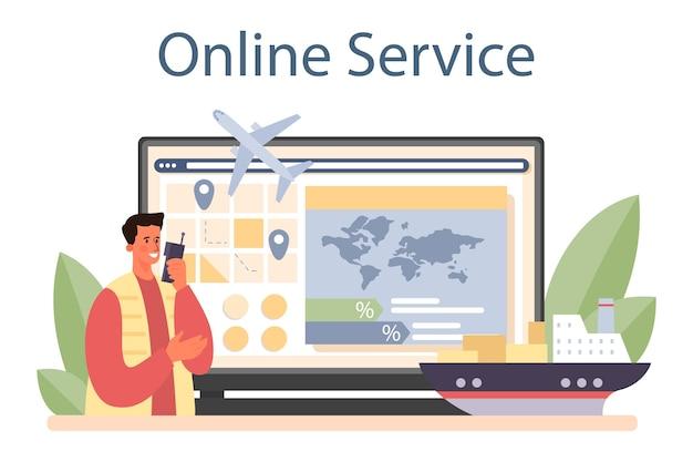 화물 운송업자 온라인 서비스 또는 플랫폼 평면 그림 벡터