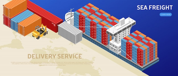 Грузовое судно с контейнерами в грузовом порту