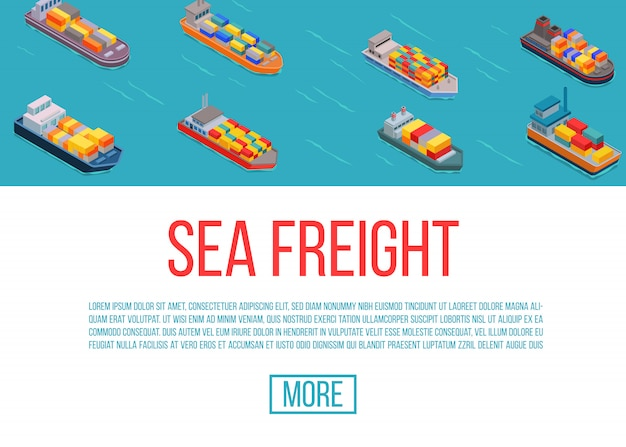 Freight ships, shipping, delivery sea transport on a blue background vector illustration. delivery sea truck service. cartoon freight ships web site template.