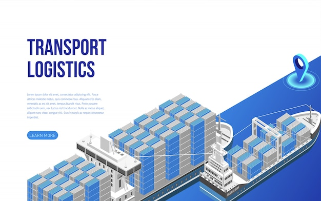 Грузовые суда с грузовыми контейнерами рядом с описанием сайта