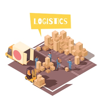 Freight sorting isometric composition