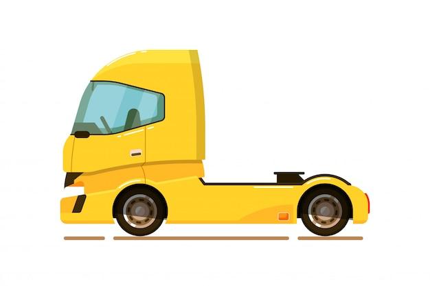 貨物輸送。貨物トラックトラクターが分離されました。貨物輸送ベクトル図側面図