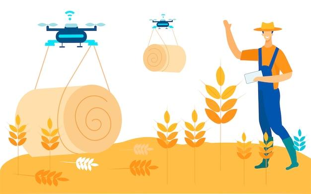 Freight transportation drones transport haystacks.