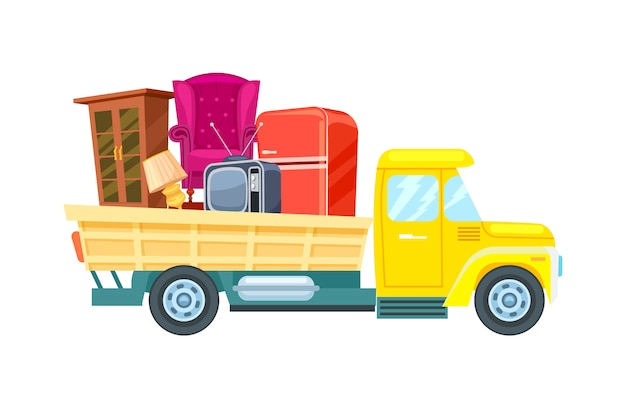 Freight truck with furniture vector