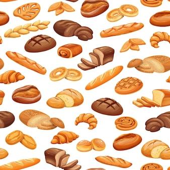 프랑스 빵 빵집 제품 완벽 한 패턴, 컬러 벡터 배경. 롤, 패스트리를 굽고 빵을 자릅니다. 타바티에르, 에피 바게트, 베이글, 팡 오 르뱅, 쁘띠 통증 등.