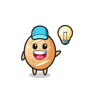French bread character cartoon getting the idea , cute design